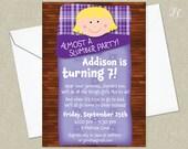 Purple Girls Almost a Slumber Party Birthday Party Invitation - Sleepover Birthday Invitation - Slumber Party Invitations