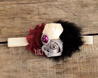 black cream maroon gray grey baby girl headband, vintage baby headband, vintage girls headband, couture baby headband, fall baby headband