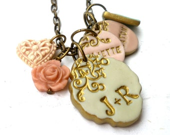 To Mom from Dad, Mother of three Necklace, Children's name Necklace, Nameplate, multiple name charms, Family, couple, kids, Mother's day
