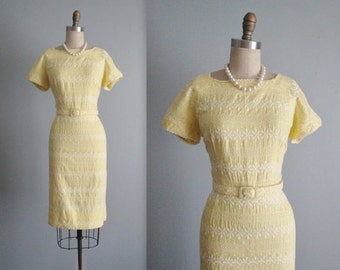 STOREWIDE SALE 50's Dress // Vintage 1950's Embroidered Yellow Fitted Garden Party Day Dress M