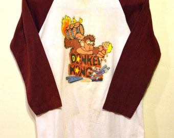 Vintage Donkey Kong BASEBALL T-Shirt: 80s Nintendo Arcade / Console Video Game 3/4-Slv Shirt, Small / Medium - Nerd, Gamer, Geekery, Hipster