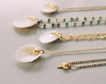Shell Necklace, Tiny Shark Tooth, Layering Necklace, Summer Necklace, Beach Jewelry, Gold Chain, Gold Necklace, Bikini Wear, Cowrie Necklace