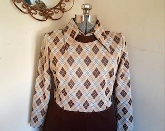 1970's A Line Mod Dress Kay Windsor Dress Pointed Collar