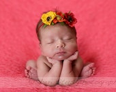 Fiesta Floral Headband - Newborn Headband - Baby Headband - Yellow - Orange - Red - Girl - Flower Crown - Flowers