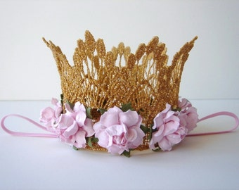 Small Pink and Gold Lace Crown - Pink Flower Crown - Newborn Gold Crown - Photo Prop - First Birthday Cake Smash - Baby Gold Crown - Pink