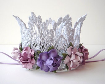 Small Silver Lace Crown - Lavender and Lilac Flowers - Newborn Silver Crown - Photo Prop -  Birthday Cake Smash - Baby Silver Crown - Purple