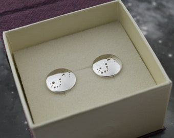 Silver Scorpio earrings: Sterling silver earrings showing the constellation of Scorpio.