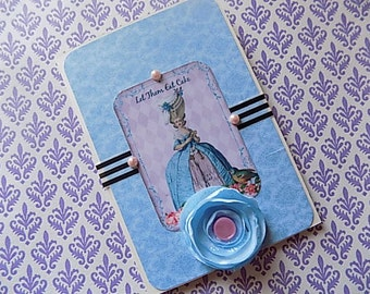 Marie Antoinette Inspired Greeting Card in Blue - French inspired