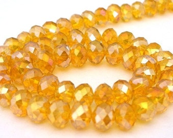 24 butterscotch beads, Chinese crystal, 6mm rondelles