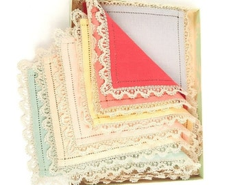 MOVING SALE Boxed Set of Vintage Linen Hankies from Bullocks
