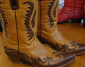 Beautiful Super Supple Brown Leather Womans Cowboy Boots Size 10 1/2