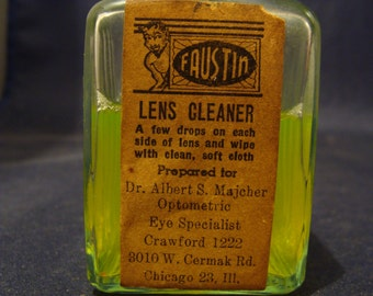 Scary Quack Eyeglass Cleaner 1930's 40's Faustin Lens Cleaner Devil Neon Green Fluid Chicago Il.