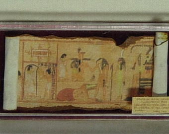 Dollhouse Miniature Museum / History Egyptian Style Papyrus in case (b)