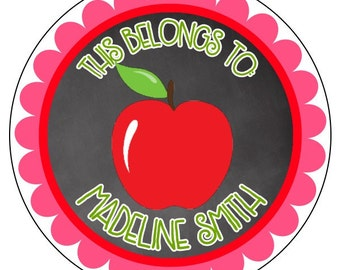 back to school chalkboard stickers, this belongs to sticker, personalized school stickers, custom pink apple back to school sticker
