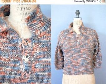 30%OFF 1970s Sweater / Doggy Button Sweater / 70s