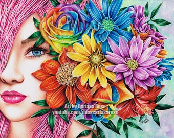Signed Art Print Pop Art Rainbow Flower Girl Portrait - Flora by Carissa Rose - 5x7, 8x10, or Apprx 11x14