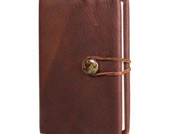 "Kodiak Brown Bison Leather Journal with Magnesite 4"" x 6"" (JS-31)"
