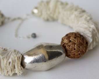 Paper  Silver Rustic Necklace