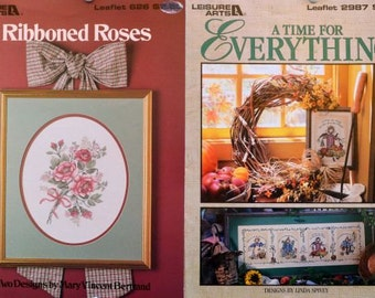 Ribboned Roses by Mary Vincent Bertrand & A Time for Everything by Linda Spivey – Leisure Arts  #2987, #626 - 2 Booklets.