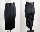 Vintage 80s Skirt / 1980s Black Satin Gathered Fishtail Long Column Skirt S