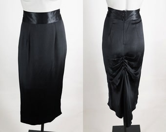 Vintage 80s Skirt / 1980s Black Satin Gathered Fishtail Long Column Skirt S
