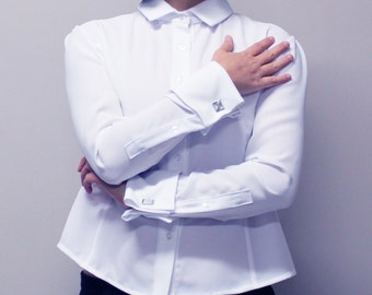 Simple French Cuff Women White Collar Shirt