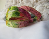 Hand Painted 100% Silk Ribbon Wrap/Painted Garden of Roses / Silk Fairy Ribbon/Hand Dyed with Ink Design/DIY Bracelet/Jewelry Supply