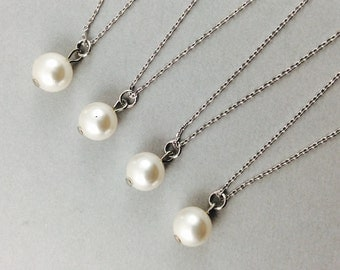 pearl necklace, bridal necklace, wedding jewelry, bridesmaids gifts, white pearl, best friend, girlfriends, everyday necklace, pearl pendant