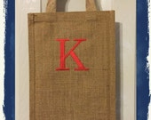 Personalized Double Wine Tote with 1 Initial in Schoolbook Font