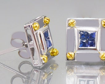 14k white gold princess cut diamond invisible style  earrings 0.40ctw