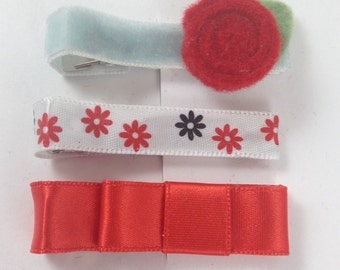 Marikit Designs Red Flower and Bow Ready To Ship Set of 3 hair clips.
