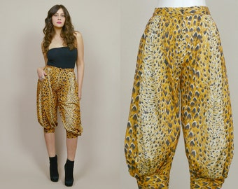 Harem Pants Leopard Print 70s High Waisted Capris 1970s Glam Genie Peg Leg Crop Pants Animal Print / Size S Small