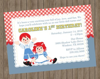 Raggedy Anne and Andy Invitations - Printable
