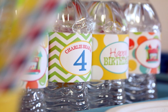Bounce House Party Water bottle Labels ~ PRINTABLE
