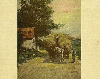 Vintage Birthday Postcard Taylor Art Co – Farmer With Load Of Hay on Wagon 1910 - Country Life