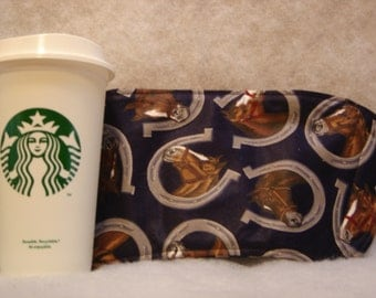 Arti REVERSIBLE Coffee Cup Sleeve, Lucky  HORSESHOES  For STARBUCKS To-Go Cups / with Pocket