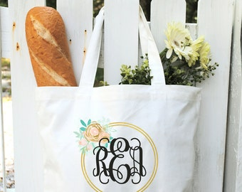 Cotton Canvas Tote Bag-Personalized Tote Bags-Monogrammed Canvas Bags-Bridesmaids Gifts-Bridal Party Favors