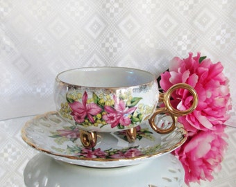 Vintage Royal Halsey Cup and Saucer Pink Floral Slight Scalloped Gold Gilded ~ Lipper and Mann