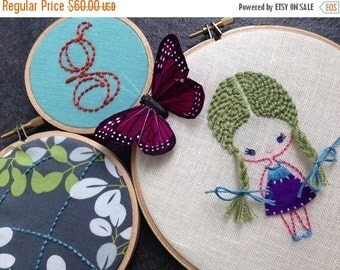 On Sale Girl with Braids. hand embroidered. hoop art. monogram. butterfly. girl's room decoration. nursery decoration.   hand embroidery by