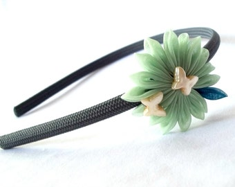 Cute Butterfly Headband with Kanzashi Flower Mint and Teal