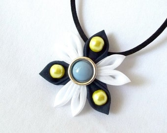 Futuristic Flower Pendant Navy Chartreuse and Blue Tsumami Kanzashi Necklace