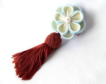 Sky Blue Kanzash Flower Hair Tassel Cinnamon Brown Geisha Inspired Fabric Origami Formal Headpiece