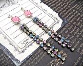 Long Rhinestone Jewel Earrings, Belle Epoque Bohemian Jewelry, Victorian Earrings, Pink Crystal Post Earrings, Assemblage Jewelry