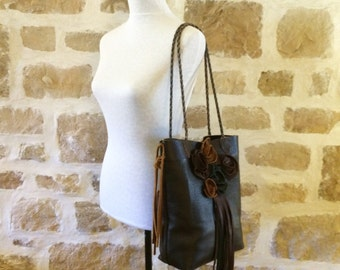 black brown leather tote handbag rose flowers and fringe by Tuscada. Ready to ship.