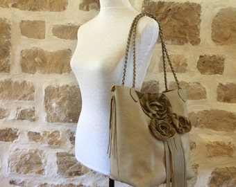 taupe leather tote with roses flowers braided shoulder straps fringe by Tuscada Ready to ship.