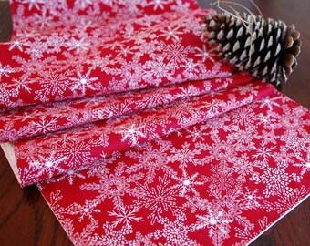 Holiday Table Runner, Red Table Runner, Snowflake Christmas Decor, 14x84 Christmas Table Runner, Red Table Linens