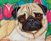 "Custom Pet Portrait  5 x 7""  oil pastel custom portrait  dog or cat vibrant flowers pet animal"