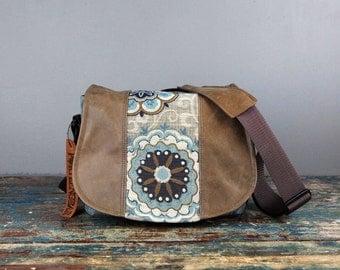 Medium - Leather Camera Bag New Satchel  -  Blue Floral leather Leather DSLR - PRE-ORDER