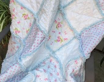 Rag Quilt Ballet Roses Shabby Chic Lap Baby Blanket