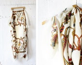 Tassel Scarf •  Ivory Scarf with Fringe and Novelty Print • Baroque Print Cream Scarf | SC170